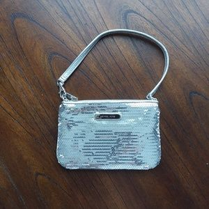 Michael Kors silver sequin wristlet